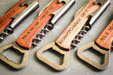 Wood Bottle Opener with Corkscrew-personalized bottle opener-EngraveMeThis