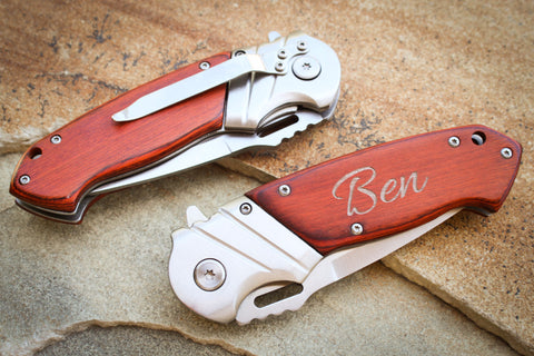 Hardwood Folding Knife with Pocket Clip-Personalized pocket knife-EngraveMeThis