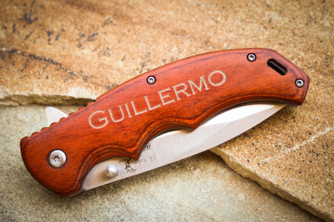 Paccawood Folding Knife by Elk Ridge-Personalized pocket knife-EngraveMeThis