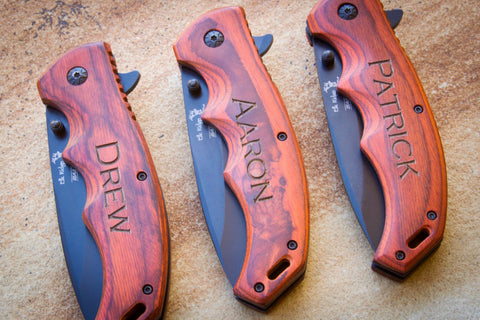 Paccawood Folding Knife by Elk Ridge - Black Blade-Personalized pocket knife-EngraveMeThis