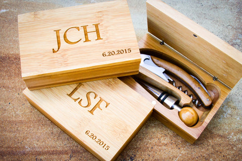 Waiter's Corkscrew Set in Bamboo Box-personalized wine tools-EngraveMeThis