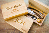 Bamboo Waiter's Corkscrew Set-personalized wine tools-EngraveMeThis