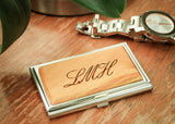 monogrammed wood and metal business card case