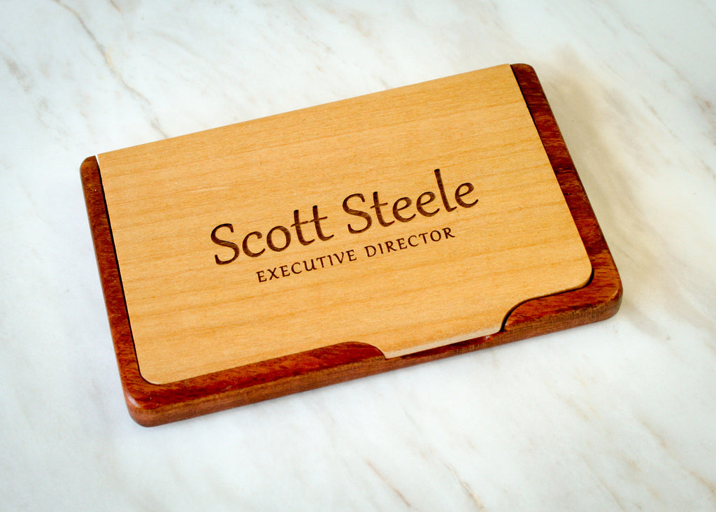 Personalized Rosewood Business Card Holder from EngraveMeThis