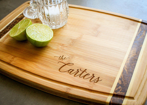 Bamboo Drip Board with End Grain Inlay-personalized cutting board-EngraveMeThis