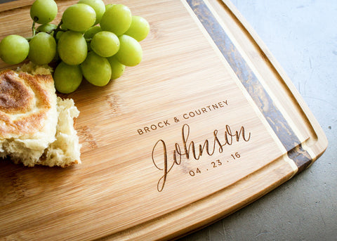 Bamboo Cheese Board with End Grain Inlay-personalized cutting board-EngraveMeThis