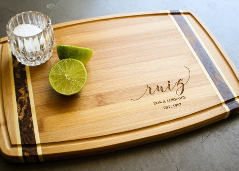 Bamboo Board with End Grain Inlay-personalized cutting board-EngraveMeThis