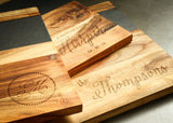 laser engraved wood cutting boards with slate detail