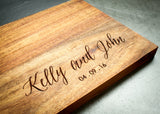 Personalized cutting board with slate inlay