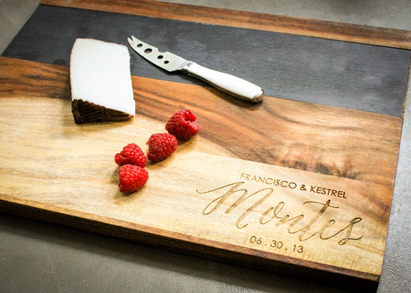 Personalized cutting board with slate detail