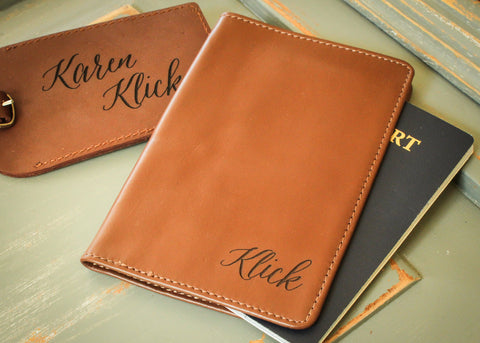 Leather Passport Case in Brown-personalized passport holder-EngraveMeThis