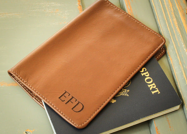 Brown Leather Passport Holder-personalized passport case-EngraveMeThis