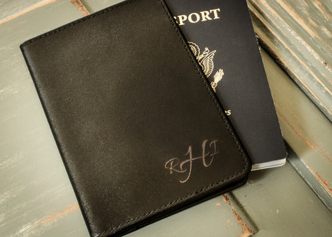 Black Leather Passport Holder-personalized passport case-EngraveMeThis