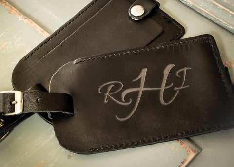 Black Leather Luggage Tag-personalized luggage tag-EngraveMeThis