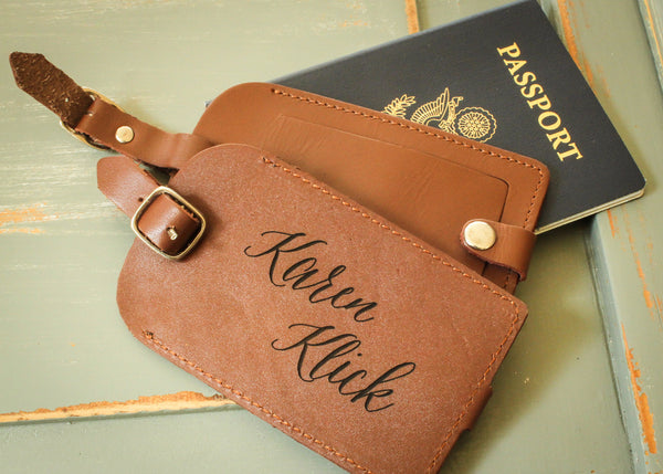 Leather Luggage Tag in Brown-personalized luggage tag-EngraveMeThis