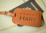 Brown Leather Luggage Tag-personalized luggage tag-EngraveMeThis