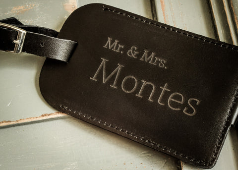 Leather Luggage Tag in Black-personalized luggage tag-EngraveMeThis