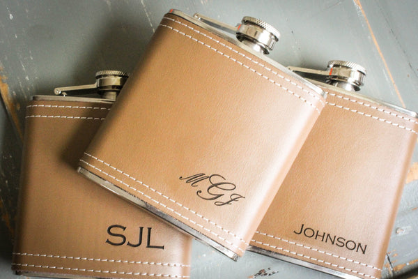 Light Tan Leather Flask-personalized top shelf leather flask-EngraveMeThis