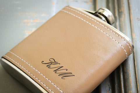 Classic Leather Flask-personalized top shelf leather flask-EngraveMeThis