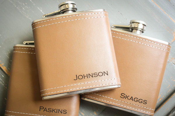 Tan Leather Flask-personalized top shelf leather flask-EngraveMeThis