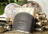Black Top Grain Leather Flask-personalized top shelf leather flask-EngraveMeThis