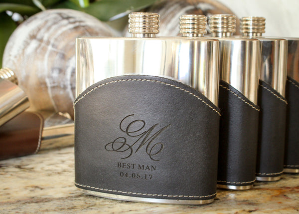 Genuine Leather Flask in Black-personalized top shelf leather flask-EngraveMeThis