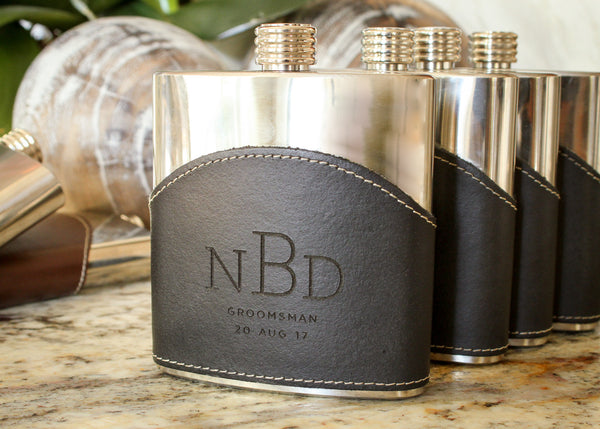 Monogrammed Leather Flask in Black-personalized top shelf leather flask-EngraveMeThis