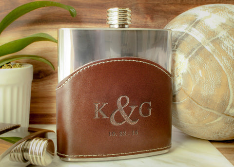 Monogrammed Leather Flask in Brown-personalized top shelf leather flask-EngraveMeThis