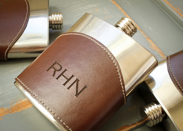 Genuine Leather Flask in Brown-personalized top shelf leather flask-EngraveMeThis
