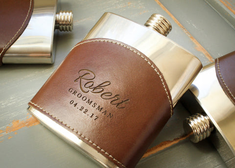 Leather Wrapped Flask in Brown-personalized top shelf leather flask-EngraveMeThis