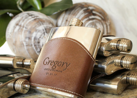 Brown Top Grain Leather Flask-personalized top shelf leather flask-EngraveMeThis