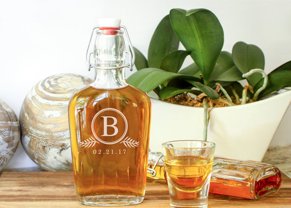 Whiskey Flask-personalized glass whiskey flask-EngraveMeThis
