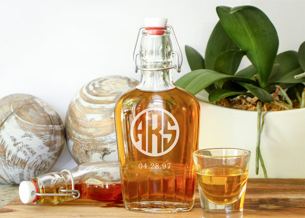 Flip Lid Glass Flask-personalized glass whiskey flask-EngraveMeThis
