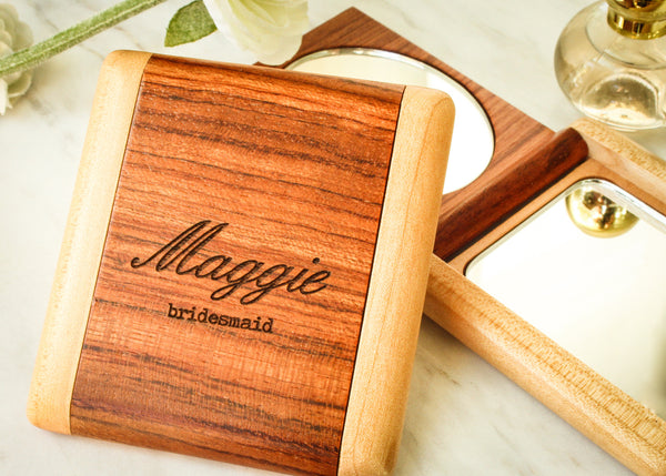 Maple & Rosewood Compact-Personalized compact mirror-EngraveMeThis