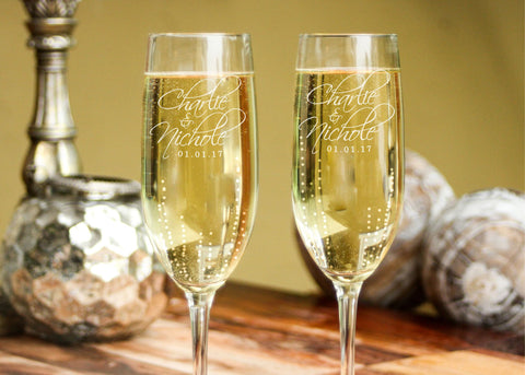 Sparkling Wine Flutes-personalized champagne glasses-EngraveMeThis