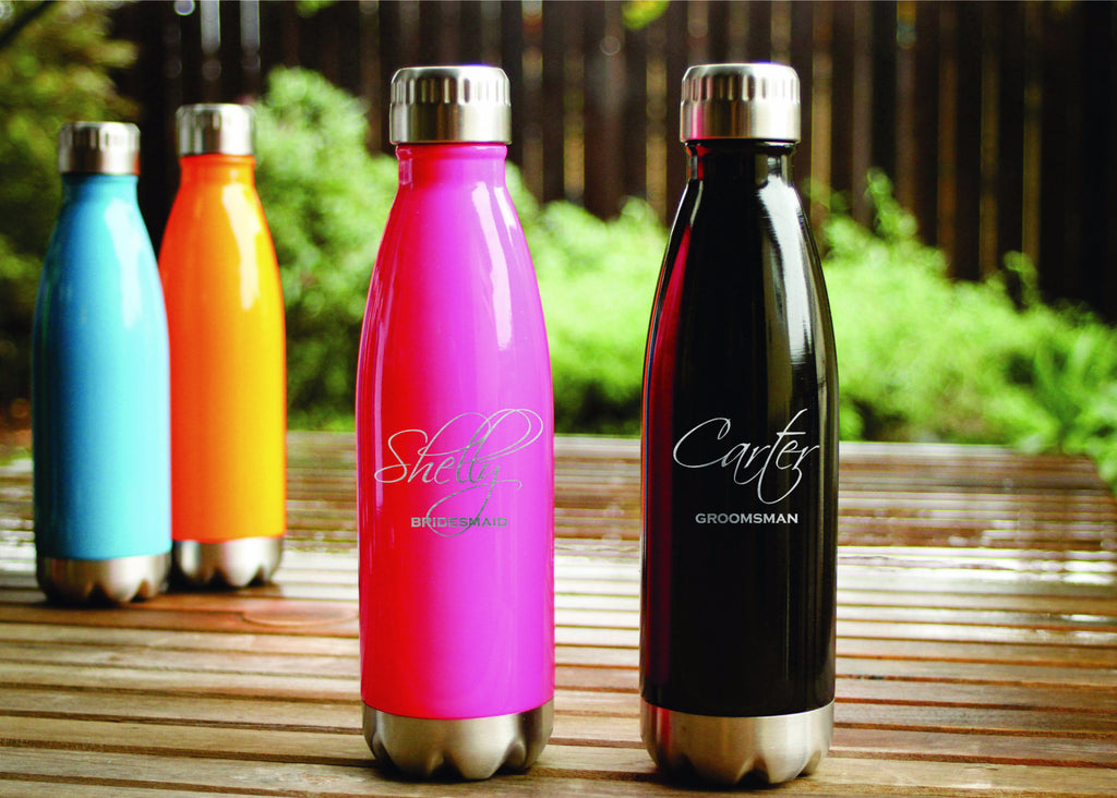 custom engraved cola shaped water bottle from engravemethis