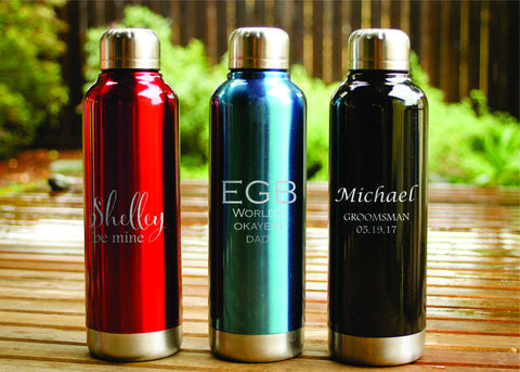 Classic Stainless Steel Water Bottle-personalized water bottle-EngraveMeThis