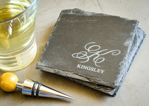 Black Slate Coaster Set-custom personalized coaster set-EngraveMeThis