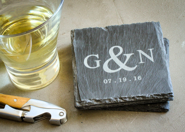 Natural Edge Slate Coasters-custom personalized coaster set-EngraveMeThis