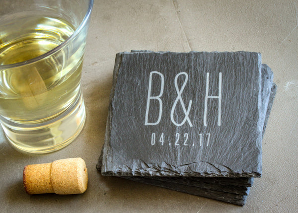 Set of Slate Coasters-custom personalized coaster set-EngraveMeThis