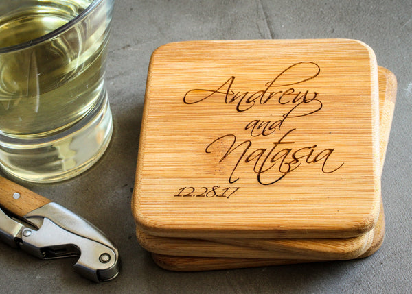 Bamboo Coaster Set-custom personalized coaster set-EngraveMeThis