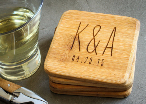 Coaster Set - Natural Bamboo-custom personalized coaster set-EngraveMeThis