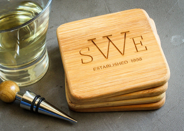 Set of Bamboo Coasters-custom personalized coaster set-EngraveMeThis