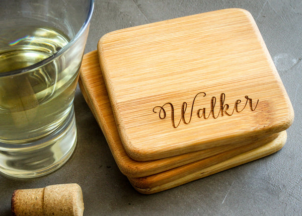Wood Coaster Set-custom personalized coaster set-EngraveMeThis