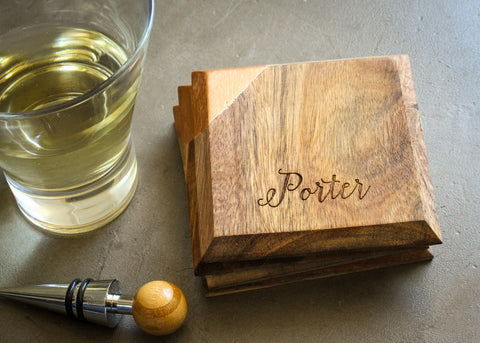 Natural Wood Grain Coaster Set-custom personalized coaster set-EngraveMeThis