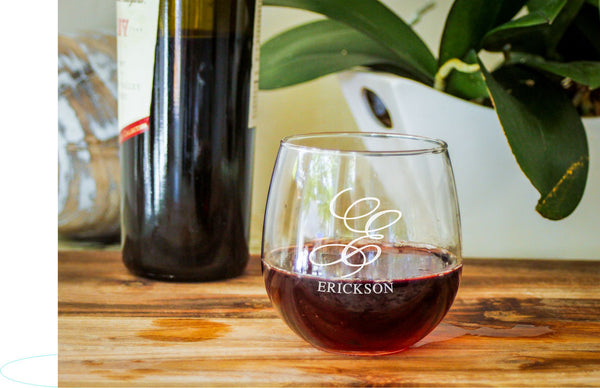 Stemless Red Wine Glasses-personalized wine glasses-EngraveMeThis