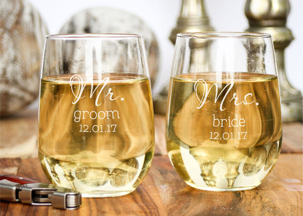 White Wine Glasses-personalized wine glasses-EngraveMeThis
