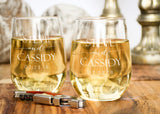 Stemless White Wine Glasses-personalized wine glasses-EngraveMeThis