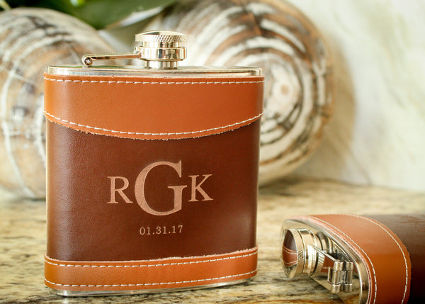 Brown Two Tone Leather Hip Flask-personalized top shelf leather flask-EngraveMeThis