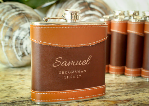 Two Tone Leather Hip Flask-personalized top shelf leather flask-EngraveMeThis